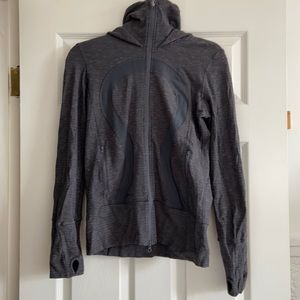 Lululemon Scuba grey hooded zip top